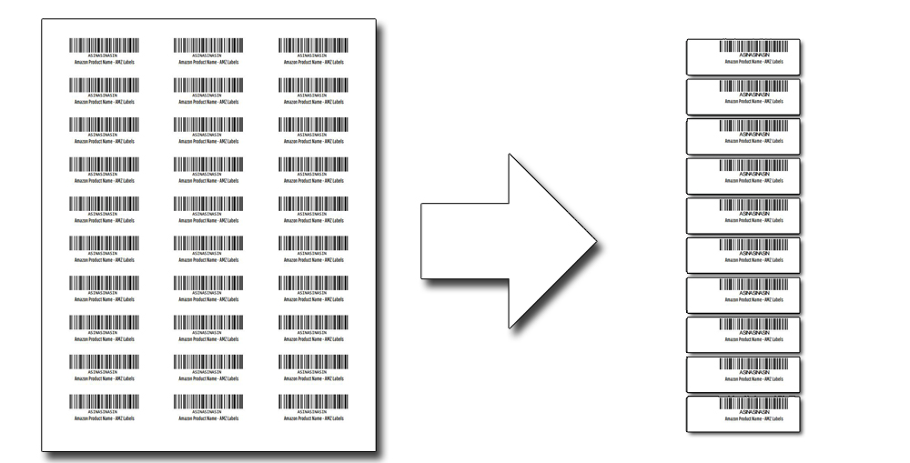 Convert FNSKU barcode labels from 30-UP into labels able to be used by a thermal label printer.
