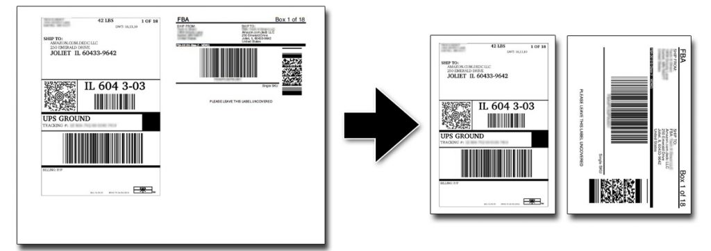 "Convert FBA labels from Amazon PDF into 4""x6"" printable sections."