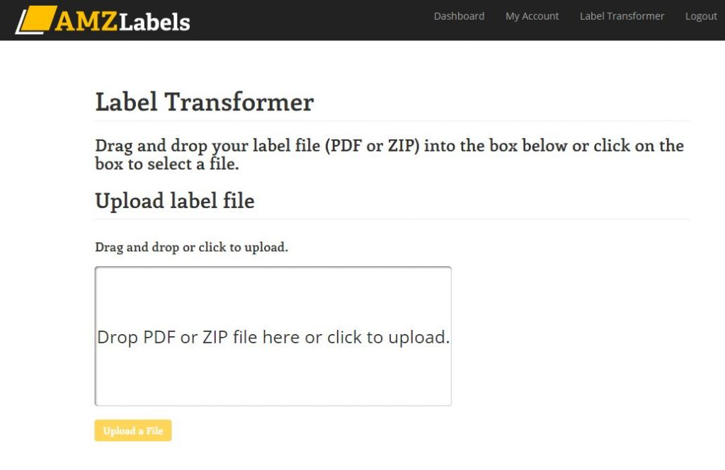 Amazon label transformer screen before upload.