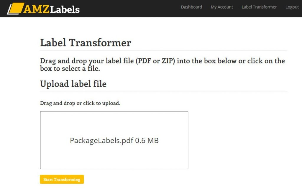 Amazon label transformer screen after upload.