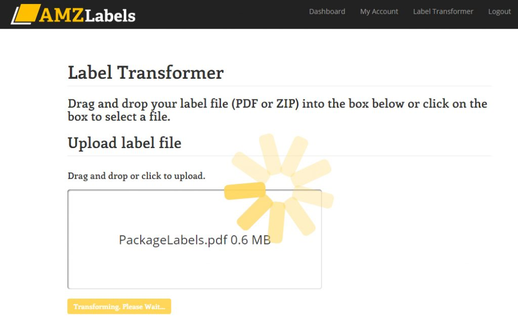 Amazon label transformer screen during upload.