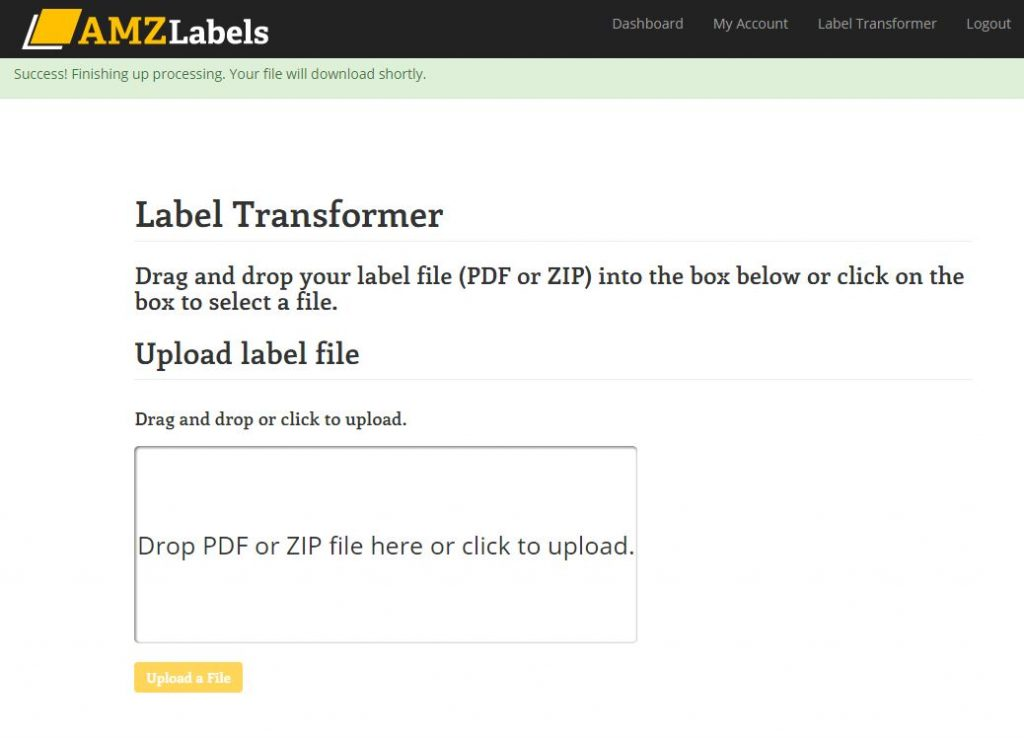 Amazon label transformer screen after successful upload.