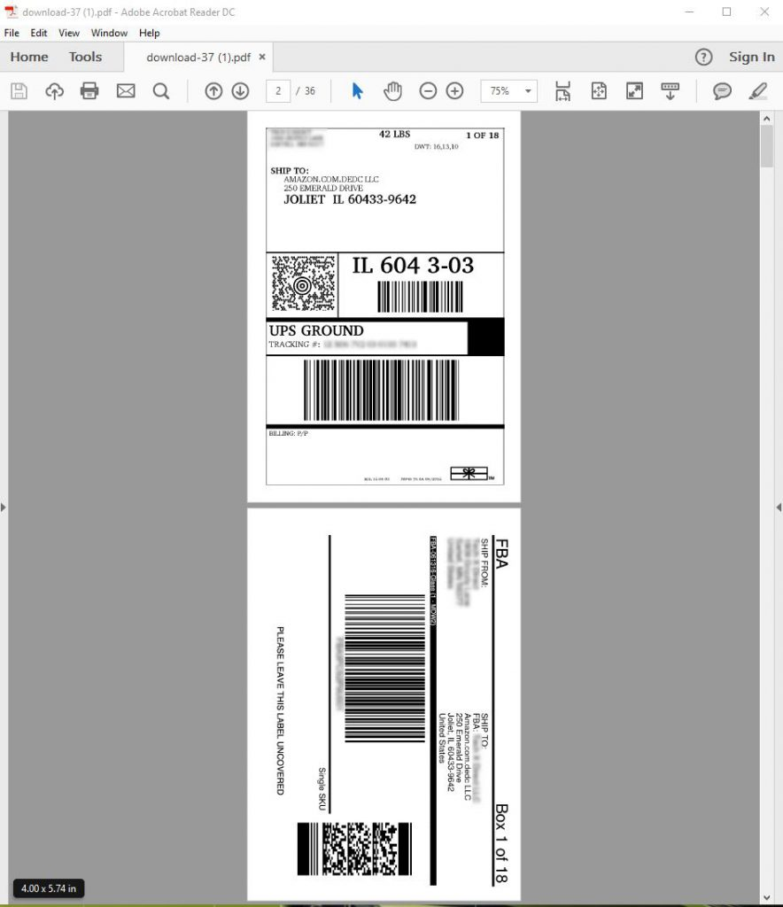 "Amazon label service final result - 4""x6"" PDF for thermal printer."
